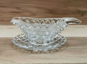 Small Vintage Glass Mint Sauce Boat with Saucer