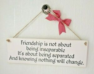 """Wooden Handmade Chalk Painted """"Friendship Is"""" Gift Plaque/Sign"""