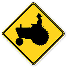"Tractor Road Sign car bumper sticker window decal 4"" x 4"""