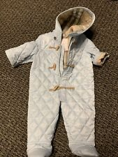 BURBERRY BABY BOY*BLUE/CHECK QUILTED SNOWSUIT SZ 3-6MTHS - PRE-OWNED!! Orig$195