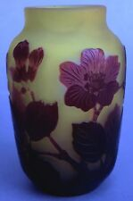 Signierte Émile Gallé Jugendstil Glas Vase Kirschblüten- Blatt-Dekor Nanci ~1900