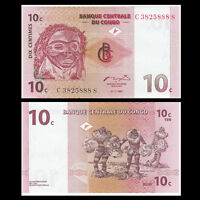 Congo 10 Centimes Banknote, 1997, P-82, Banknote, UNC, Africa Paper Money