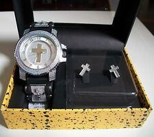 Silver Finish CROSS Iced Out Techno Pave Watch/Complementary Earring Combo Box