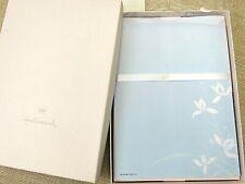 Hallmark Iris Stationery Set - Vintage BLUE Paper Pink Envelopes Floral ORIG BOX