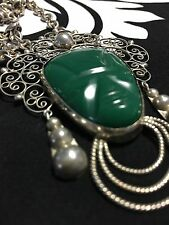 Rare Vintage Mexican Aztec Green Jade Pendant Sterling Mexico & Necklace 925