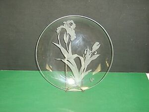 "Signed Coyle 10-1/4"" Platter Floral Etched Clear Crystal Glass Plate"