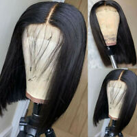 Short Bob Lace Front Wig Synthetic Glueless Black Straight Hair Heat Resistant !