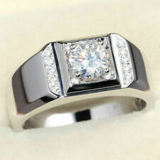Men's Engagement Unique Ring 3.60 CT Round White Moissanite 925 Sterling Silver