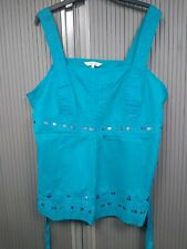 Beaded & Embroidered Turquoise Camisole Top with ties - Size 22 - 100% Cotton