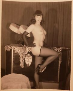Vintage Silver Gelatin Trimmed Nude Bettie Page Perfect Tits & Nipples Risque