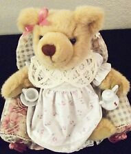 The Bialosky Bear Rebecca White Dress with Pink Flowers Teapot and Teacup