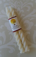Handmade 100% Beeswax Candles - white/ivory twisty spiral tapers