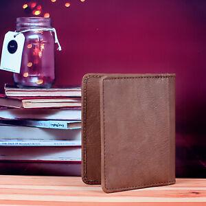 Geniune Cowhide Leather Bifold ID Credit Card Wallet Slim Pocket Case Holder