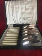 Cased Cutlery Set Vintage 1920 S ART DECO ARGENT PLAQUE poisson COUTEAUX & FOURCHETTES en boîte