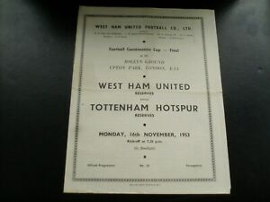 1953/1954  FOOTBALL COMBINATION CUP FINAL WEST HAM UNITED  V  TOTTENHAM HOTSPUR