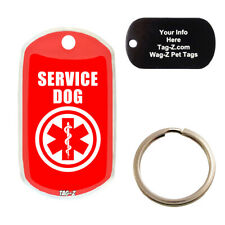 MEDICAL ALERT - SERVICE DOG - CUSTOMIZED - PET TAG - MILITARY Shape - Tag-Z Tags