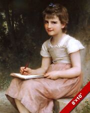 PRETTY YOUNG SCHOOL GIRL OR ARTIST SKETCHING OIL PAINTING ART REAL CANVAS PRINT