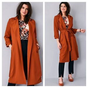 Kaleidoscope Size 16 Burnt Orange Longline Drape Duster JACKET Casual Belt £65