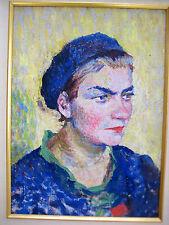 1930 RUSSIAN OIL PAINTING COMSOMOL YOUNG WOMAN PORTRAIT KOCHEGURA AVANT-GARDE