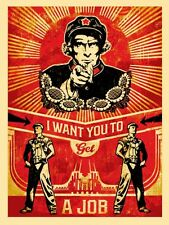 GET A JOB Neil Young Americana shepard fairey obey giant communist propaganda