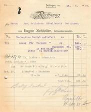 alte Rechnung, Eugen Schlotter, Schneidermeister,  Dettingen (Horb) 1928 #E754