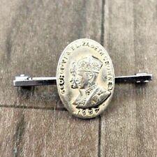VINTAGE KING GEORGE VI ELIZABETH 1937 CORONATION PIN BADGE RARE COMMEMORATIVE