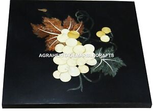 Marble Black Side Coffee Table Top Mosaic Inlay ExcluIsive Furniture Decor H2994