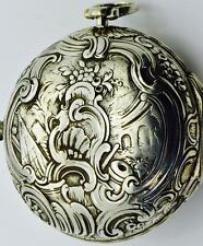 MUSEUM Renaissance Verge Fusee Repousse silver pair case watch.Markinsville,1730
