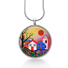 Houses Necklace - Folk Art Jewelry - Pendant