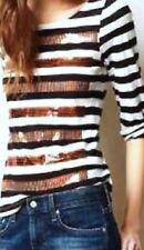 Anthropologie Postmark Knit Top M Black Stripes Bronze Sequins Roll Tab 3/4