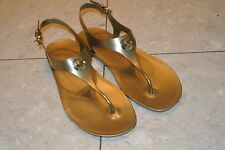 New MICHAEL KORS Size 11 Jelly Thong Sandals T-Strap Flats Shoes Gold Logo