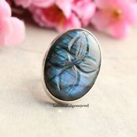 LABRADORITE FLOWER CARBINE RING 925 STERLING SILVER GIFT JEWELRY.All US SIZE