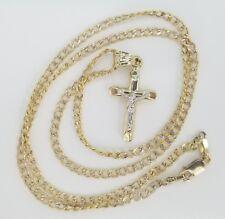 "10k Yellow White Gold Cross Crucifix Jesus Tube Pendant Charm + Cuban Chain 20"""