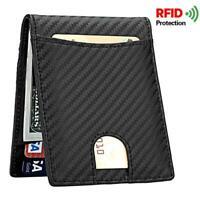 Genuine Leather Mens Wallet RFID Blocking Carbon Fiber Slim Credit Card Holder