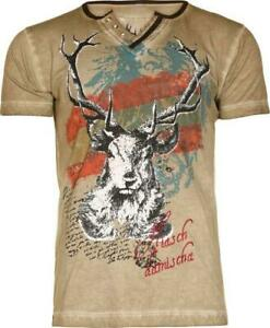Trachten T-Shirt Fabian Austria taupe von Marjo für Volksfest Oktoberfest S-4XL