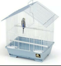 """House Style Parakeet Bird Cage 15"""" with 2 Perches, 2 Feeding Cups - Blue/White"""