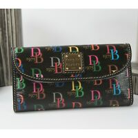 Dooney & Bourke Black DB75 Shadow Logo Coated Cotton Leather Trifold Wallet NWT