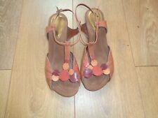 Ladies Multicoloured Leather Clarks Strappy T-Bar Shoes Size 7
