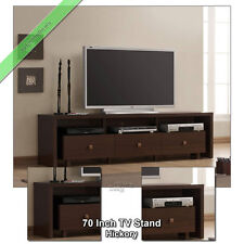 70 Inch TV Stand Entertainment Media Console Table for Flat Screens TVs, Hickory