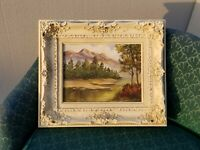 Vintage Oil On Canvas Mountain and River Scene w Ornate White Frame by B Samuels