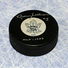 Norm Ullman Toronto Maple Leafs Autographed NHL Hockey Puck with HOF Inscription