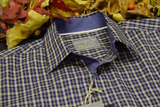 Alexander Hay Relaxed Mens Navy and Gold Check Shirts Collar Size S to 2XL