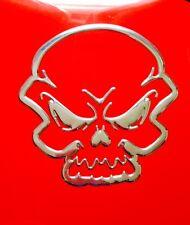 Silver Devil Demon Skull Mask 3D Car Sticker Badge Decal Emblem Art - UK Seller