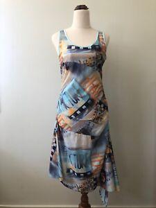 Leslie Monte Carlo Size 40 Vintage Sleeveless Film Strip Pin Up Midi Retro Dress