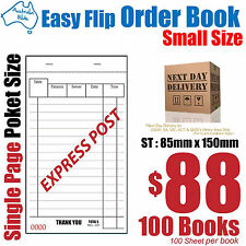 100x Small Size Restaurant Docket Order Book 85x150mm [RD141]