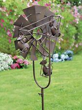G2151: Garten Windrad in Antik rostig, Gartenstecker Windrad mit putzigen Katzen