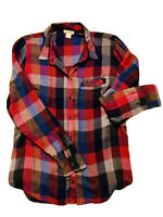Lucky Brand Plaid Shirt Women's Size M Button Up Long Sleeve Purple Blue Red