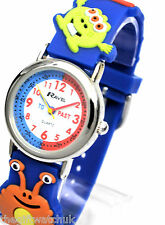 Ravel Boys Girls Kids Monsters Time Teacher Watch, Blue 3-D Strap, Free UK P&P