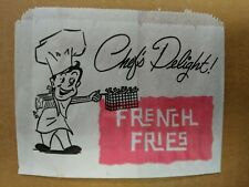 """1000 French Fry Fries Bag, 4.5"""" x 3.5"""", Grease Resistant Printed Paper 1000/case"""