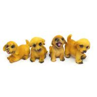 Miniature 4 Tiny Dog Puppy Pet Garden Dollhouse Accessories  Figurines Animal